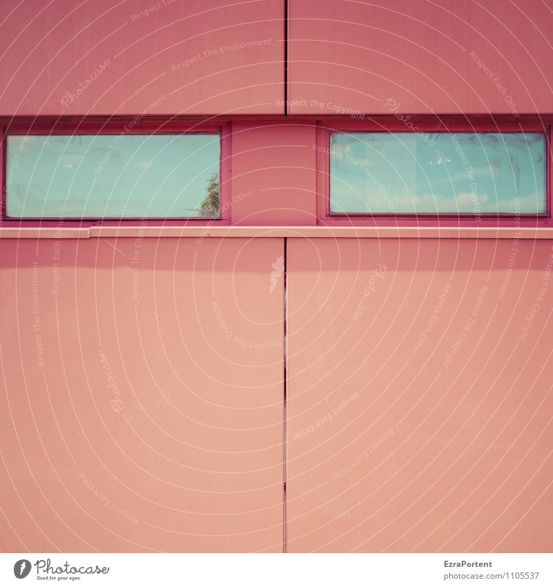 Augen zu und durch Himmel Stadt blau Farbe rot Haus Fenster Gesicht Wand Architektur Gebäude Mauer Linie Fassade Design