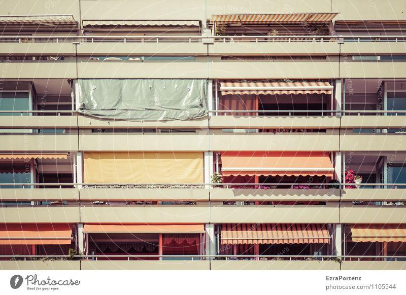 Balkonien II Sonne Sonnenlicht Frühling Sommer Klima Schönes Wetter Stadt Haus Bauwerk Gebäude Architektur Fassade Stein Beton Linie Streifen gelb grau orange