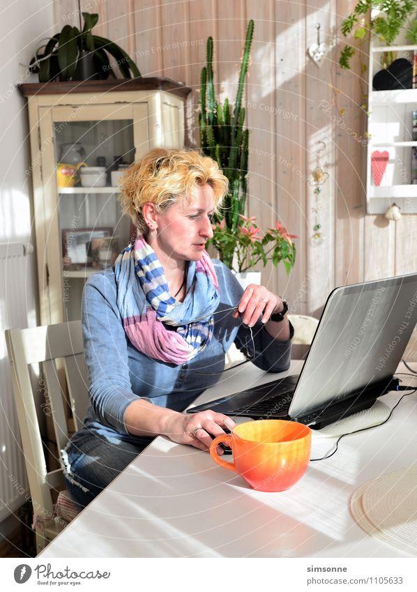 Frau zu Hause Frau blau Pflanze Erwachsene Leben Denken Haare & Frisuren Arbeit & Erwerbstätigkeit Wohnung Freizeit & Hobby Büro Häusliches Leben blond Tisch geschlossen lernen