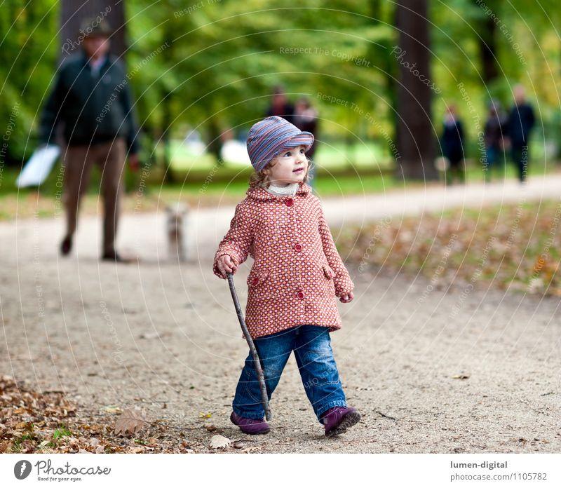 Kind geht im Park spazieren Freude wandern Mensch Mädchen 1 1-3 Jahre Kleinkind Natur Herbst Mantel Mütze gehen lachen Freundlichkeit klein Bewegung allein jung