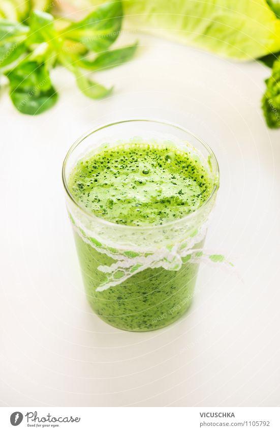 Grün Smoothie im Glas Lebensmittel Gemüse Salat Salatbeilage Frucht Ernährung Bioprodukte Vegetarische Ernährung Diät Getränk Saft Stil Design Gesunde Ernährung