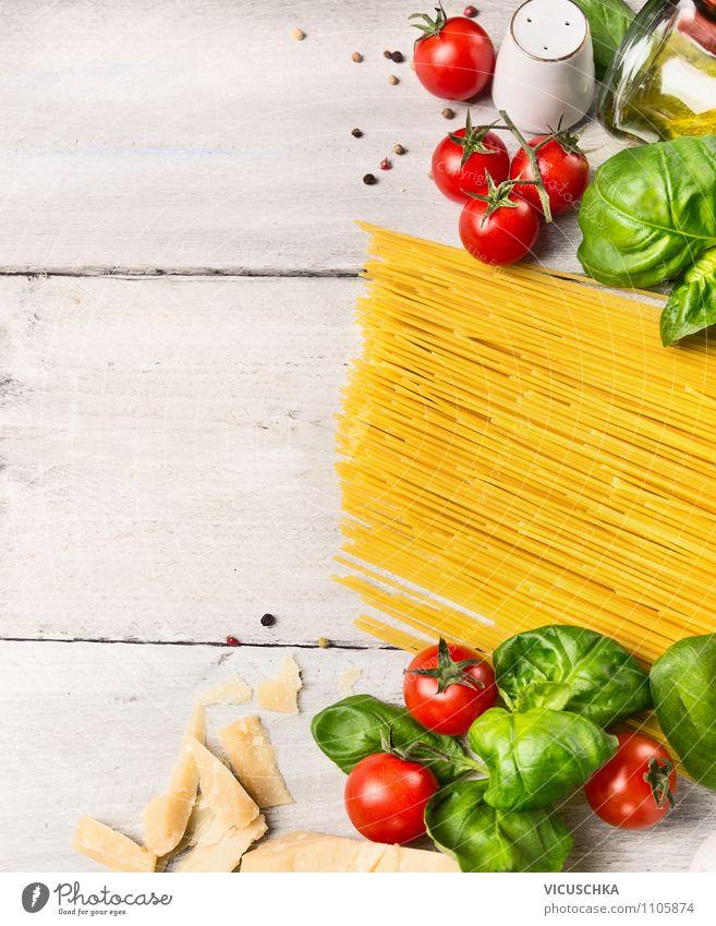 Spaghetti kochen, Zutaten auf weißem Holztisch Gesunde Ernährung gelb Leben Stil Hintergrundbild Lebensmittel Lifestyle Design Tisch Kochen & Garen & Backen