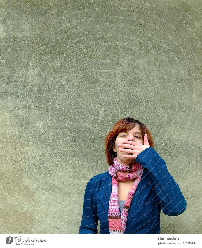 tzihi. Frau Hand Freude Gesicht Wand Herbst Garten rosa türkis Schal