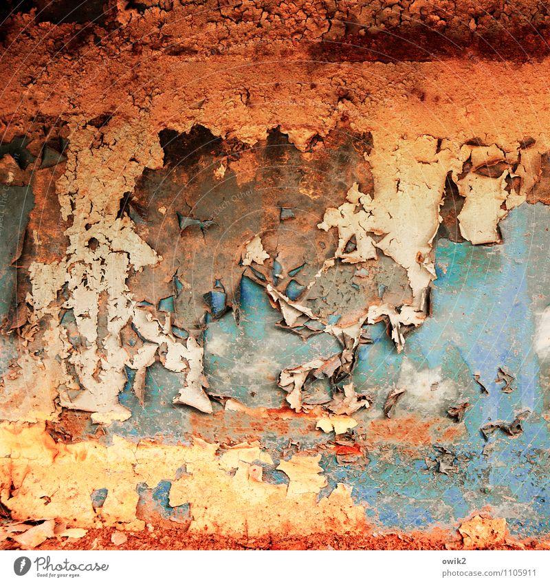 Chronik alt Farbstoff Metall Vergänglichkeit Wandel & Veränderung verfallen Verfall Rost trashig bizarr Zerstörung abblättern Kunstwerk Abnutzung Farbenspiel