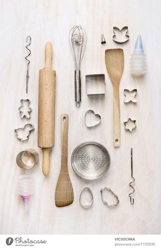 Küchenutensilien fürs Ostern Backen weiß Haus Frühling Stil Holz Metall Design Dekoration & Verzierung Ernährung Tisch Herz Kochen & Garen & Backen Zeichen