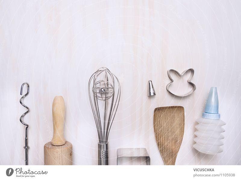 Küchengeräte fürs Kuchenbacken weiß Stil Hintergrundbild Feste & Feiern Design Ernährung Tisch Kreativität Dinge Kochen & Garen & Backen Tradition Geschirr