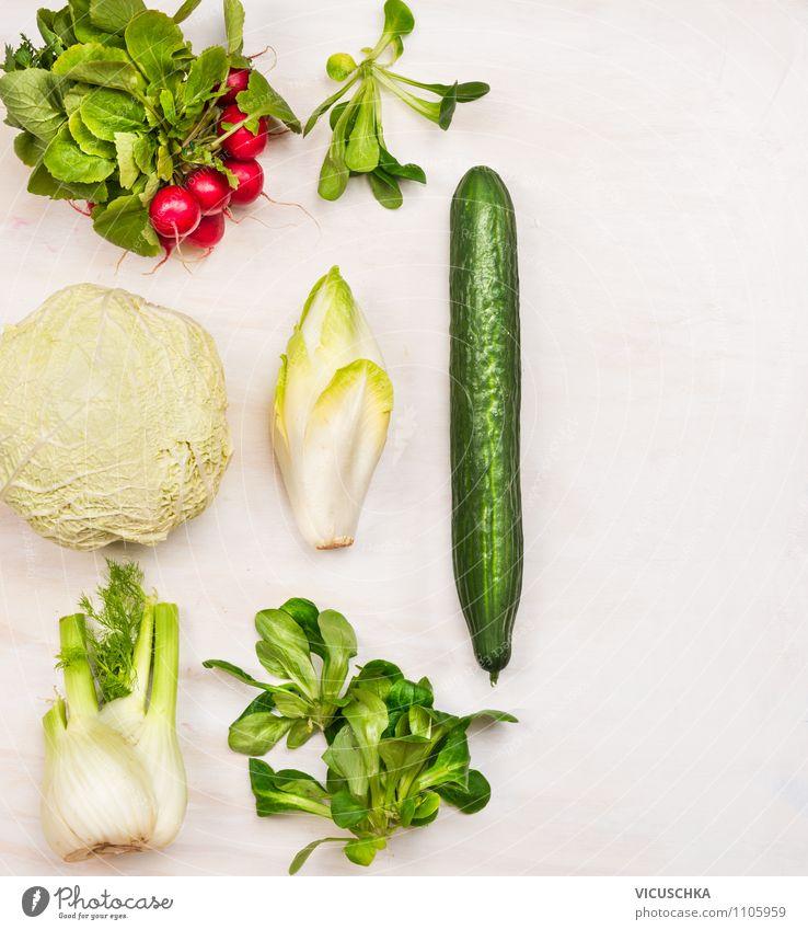 Mehr Salat Gemüse essen Natur Sommer Gesunde Ernährung Leben Stil Hintergrundbild Garten Lebensmittel Design frisch Bioprodukte Top Diät Vegetarische Ernährung