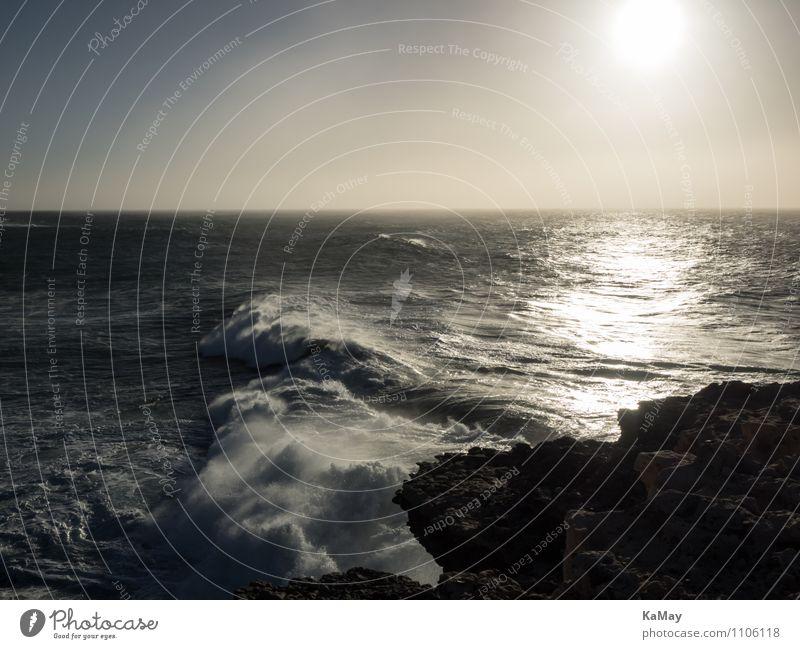 Brandung bei Gegenlicht Ferien & Urlaub & Reisen Tourismus Freiheit Meer Wellen Landschaft Wasser Wind Küste Atlantik Ajuy Spanien Kanaren Fuerteventura Europa