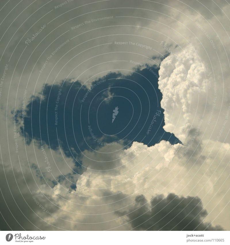 luftiges Milchgesicht blau weiß ruhig Wolken Ferne Umwelt Gefühle natürlich Stimmung träumen Luft Zufriedenheit Klima Schönes Wetter Lebensfreude