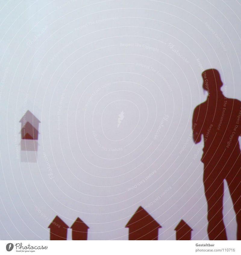 Schattenspiel 13 Mann maskulin Silhouette geheimnisvoll stehen Haus fallen klein gestaltbar Ausstellung Projektionsleinwand Bewegung frei märchhaft Hütte