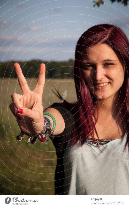 lass rocken Mensch Frau Kind Jugendliche schön Junge Frau Freude 18-30 Jahre Erwachsene feminin Haare & Frisuren Party 13-18 Jahre Erfolg Fröhlichkeit Lächeln