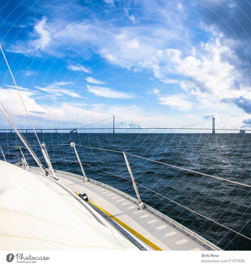 Ostsee-Segeln Himmel Ferien & Urlaub & Reisen Wasser Meer Wolken Ferne Bewegung Horizont Tourismus Wetter Wellen Aussicht Brücke Seil Bauwerk