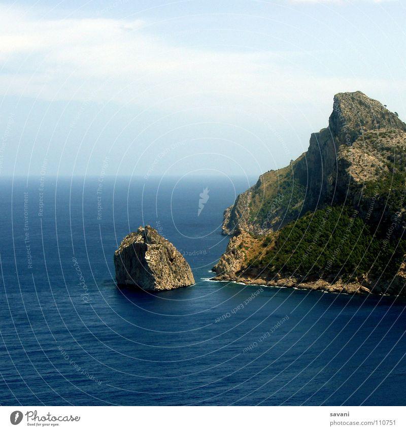 Cap Formentor auf Mallorca Ferien & Urlaub & Reisen Ferne Freiheit Strand Meer Insel Natur Landschaft Wasser Himmel Wolken Horizont Schönes Wetter Wind Felsen