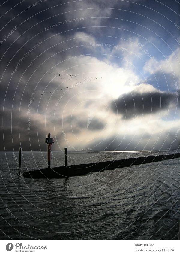REISEZEIT Farbfoto Außenaufnahme Menschenleer Textfreiraum unten Morgen Licht Reflexion & Spiegelung Sonnenlicht Sonnenstrahlen Weitwinkel