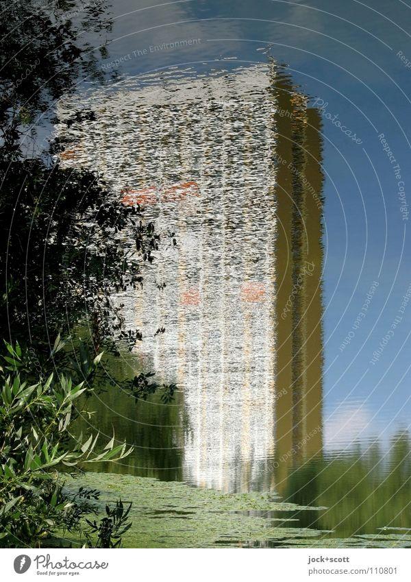 (11Pw) Plattenbau im Pfuhl Himmel Sommer Baum Park Teich Stadthaus Fassade Wasser frei groß hoch lang modern nass unten Stimmung Zufriedenheit beweglich