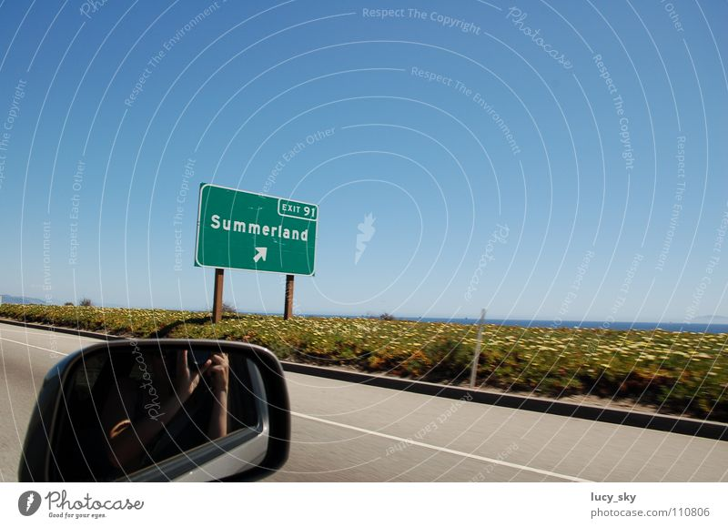 Summerland Himmel Sommer PKW USA Autobahn Amerika Kalifornien