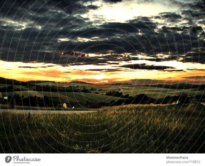 Hinter den sieben 7 Sonnenuntergang Haus Nacht Dämmerung Wolken dunkel Gras Weizen Gerste Feld Ackerbau Landwirtschaft Österreich Bundesland Niederösterreich