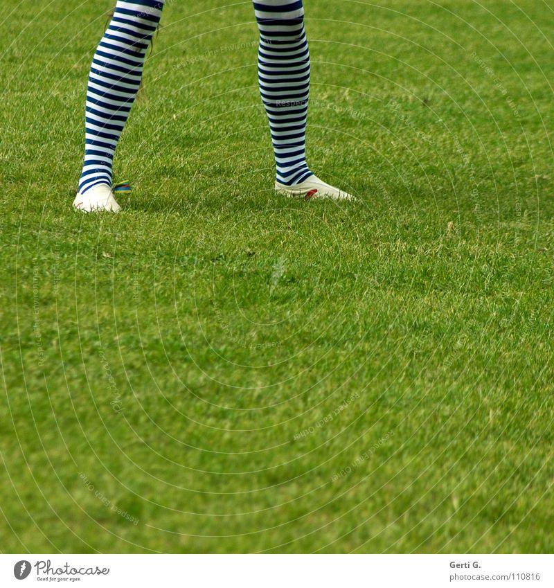SchalkeFan gestreift Strumpfhose Ringelstrümpfe Strümpfe Wiese Gras gehen Bewegung grün blau-weiß Slipper Wade Turnen Turner Breitbeinig Mensch Bekleidung Beine