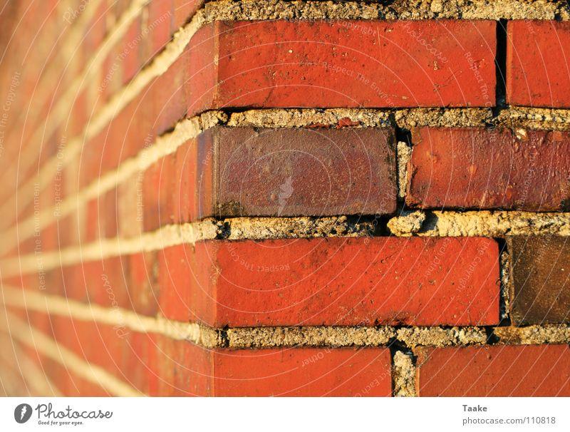 Rote Ecke Backstein rot Zement Mörtel Mauer Unschärfe Gebäude Detailaufnahme Farbe Stein Perspektive