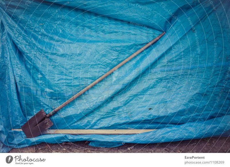 Spaten (diagonal) Werkzeug Schaufel Technik & Technologie Kunst Umwelt Natur Garten Feld Verpackung Kunststoff ästhetisch blau Design Farbe Pause Abdeckung