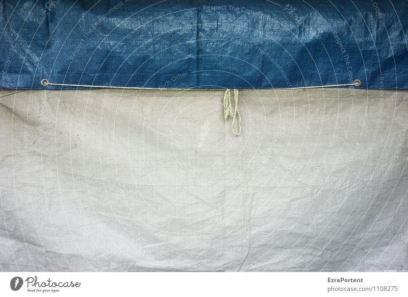 verhüllt Kunststoff Linie blau weiß Design Farbe Verpackung Abdeckung Hülle verpackt Öse Schnur Schleife fest Schutz Geborgenheit zweifarbig Farbfoto abstrakt