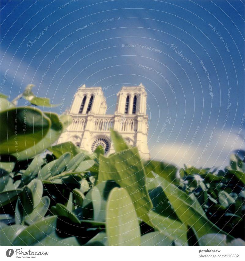 LochbildParis02 Himmel grün Wolken Architektur Frankreich Gotik Kathedrale Gotteshäuser Notre-Dame Ile de la Cité