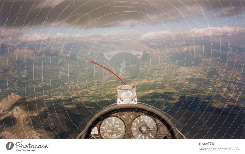 Segelflug in einer SF34 Himmel Wolken Sport Spielen Berge u. Gebirge Wärme Wind Flugzeug fliegen Niveau Aussicht fallen Frankreich Segeln untergehen Nähgarn