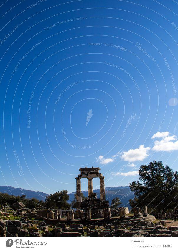 Tholos beim Orakel von Delphi Natur Landschaft Sonne Sonnenlicht Winter Griechenland Europa Dorf Menschenleer Ruine Bauwerk Architektur Sehenswürdigkeit