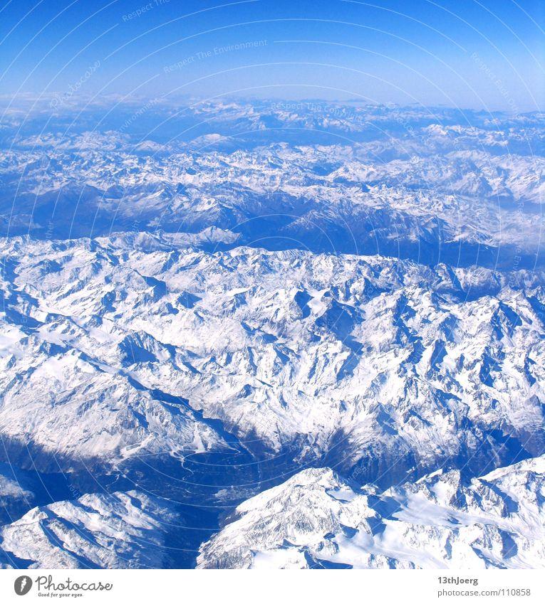 AlpenÜberblick weiß Winter Schnee Berge u. Gebirge Stimmung Hintergrundbild Horizont Europa Luftverkehr Alpen Österreich Schlucht Tal Relief Geografie Topografie