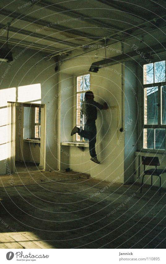 Wandläufer 2 Mensch weiß schwarz Herbst Fenster Raum Kunst rennen Industrie Kultur