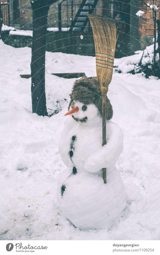 Schneemann im Hof Freude Glück Gesicht Spielen Winter Feste & Feiern Mann Erwachsene Schal Hut Lächeln authentisch weiß kalt Möhre Jahreszeiten Weihnachten Nase