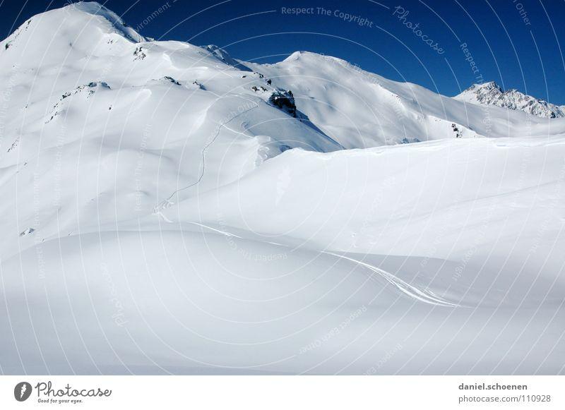 Schnee !!!! Himmel blau weiß Winter Berge u. Gebirge Schnee Hintergrundbild hell Wetter Eis wandern Gipfel Alpen Klettern Spuren Mut