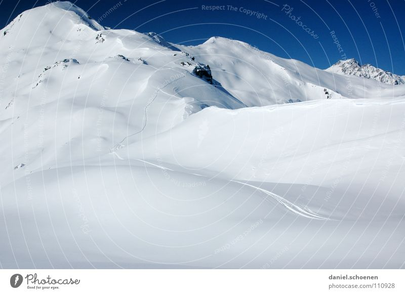 Schnee !!!! Himmel blau weiß Winter Berge u. Gebirge Hintergrundbild hell Wetter Eis wandern Gipfel Alpen Klettern Spuren Mut