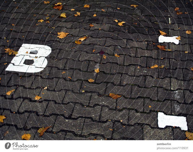 B Straße Schilder & Markierungen Kommunizieren Schriftzeichen Buchstaben Verkehrswege Typographie Parkplatz Pflastersteine Beschriftung Lateinisches Alphabet