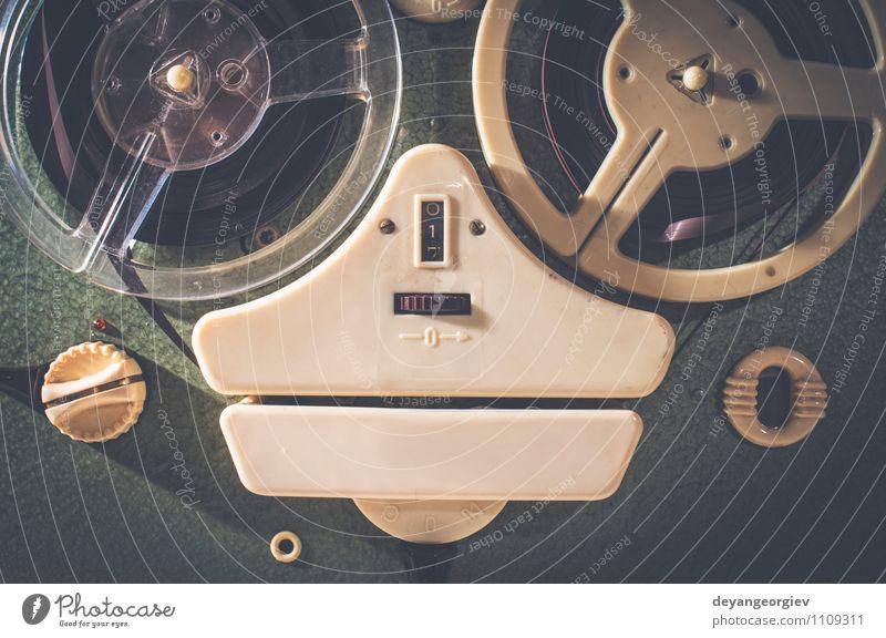 Old vintage green Kassettenrecorder alt weiß Spielen Design Musik Technik & Technologie retro Kunststoff Medien hören analog Mikrofon Entertainment Klang
