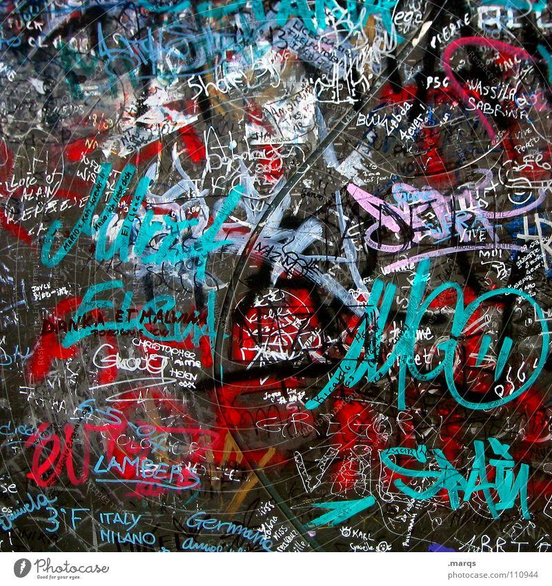 I was here weiß Stadt rot schwarz Farbe Wand Stil grau Graffiti Metall Kunst Design Schilder & Markierungen Lifestyle Kommunizieren Schriftzeichen