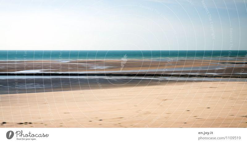 Wasserlauf Ferien & Urlaub & Reisen Tourismus Ferne Freiheit Sommer Sommerurlaub Strand Meer Natur Landschaft Himmel Horizont Küste blau braun Sehnsucht Fernweh