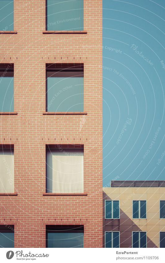 blau machen Himmel Stadt Farbe rot Haus Fenster Wand Architektur Gebäude Mauer Linie Fassade Wohnung Häusliches Leben Design