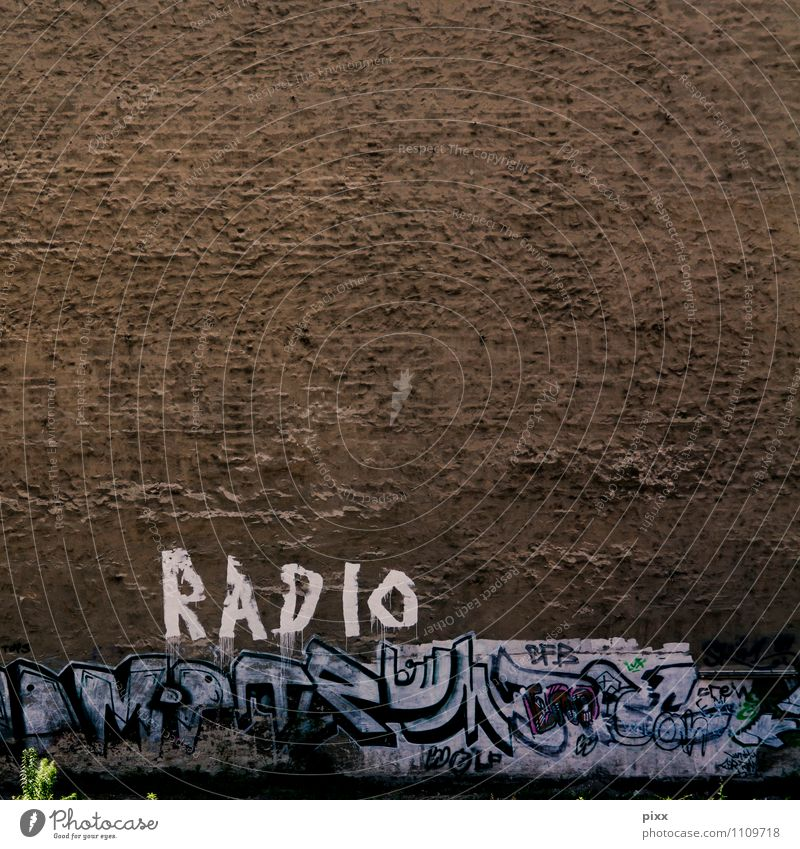 BerlinRadio Freude Technik & Technologie Kunstwerk Radiogerät Pflanze Grünpflanze Menschenleer Mauer Wand Stein Beton Zeichen Schriftzeichen Graffiti alt