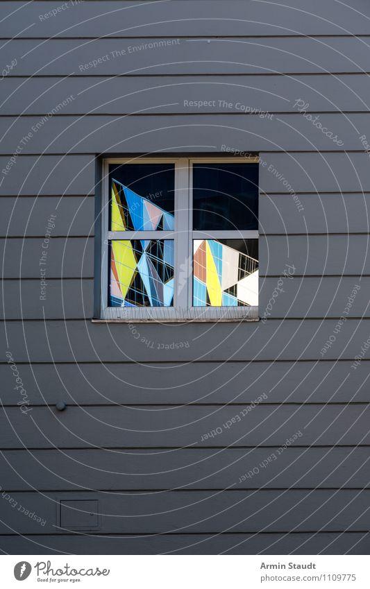 Einsicht Stil Design Mauer Wand Fenster authentisch einfach elegant Stadt grau ästhetisch Idee Inspiration Ferne Fensterscheibe Reflexion & Spiegelung Mosaik