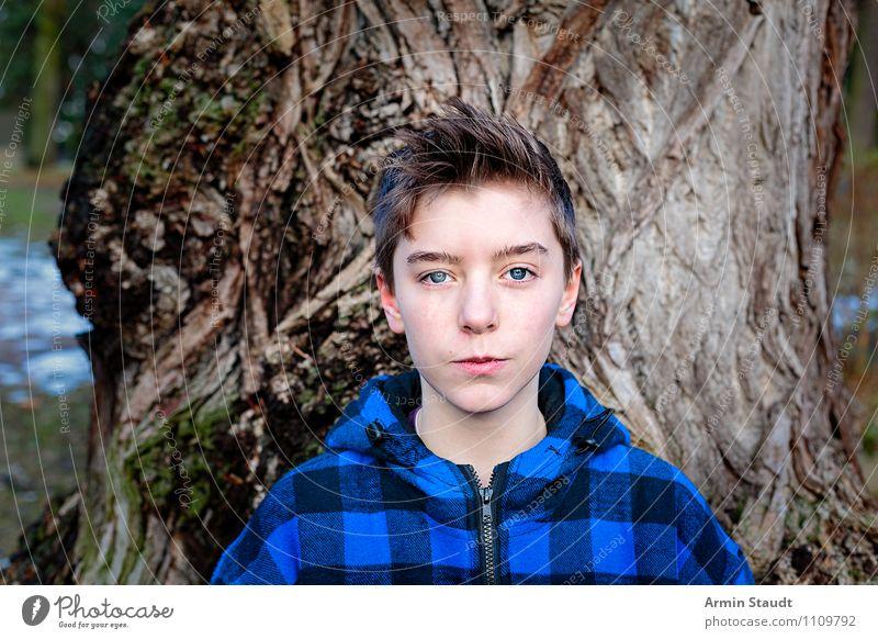 Porträt vor Baum II Lifestyle schön Winter Mensch maskulin Junger Mann Jugendliche 1 13-18 Jahre Kind Natur Park brünett kurzhaarig Coolness einzigartig