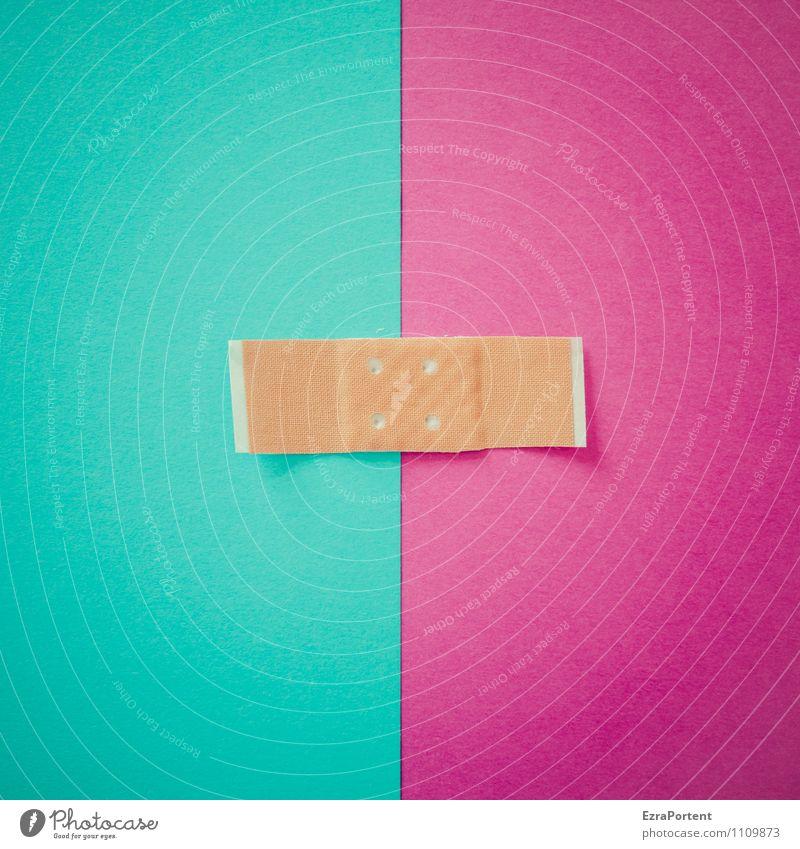 farblicher Zusammenhalt T|V Linie violett türkis Design Farbe Heftpflaster Punkt Trennung Zusammensein zusammenpassen Papier Farbfoto Innenaufnahme Experiment