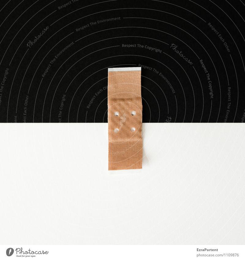 Zusammenhalt S|W Linie schwarz weiß Design Farbe Papier Heftpflaster Punkt Trennung Verbundenheit graphisch Grafik u. Illustration Grafische Darstellung