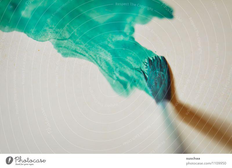 malen II Wasserfarbe Aquarell Pinsel Farbe blau grün Schwache Tiefenschärfe Pinselstrich Farbauftrag