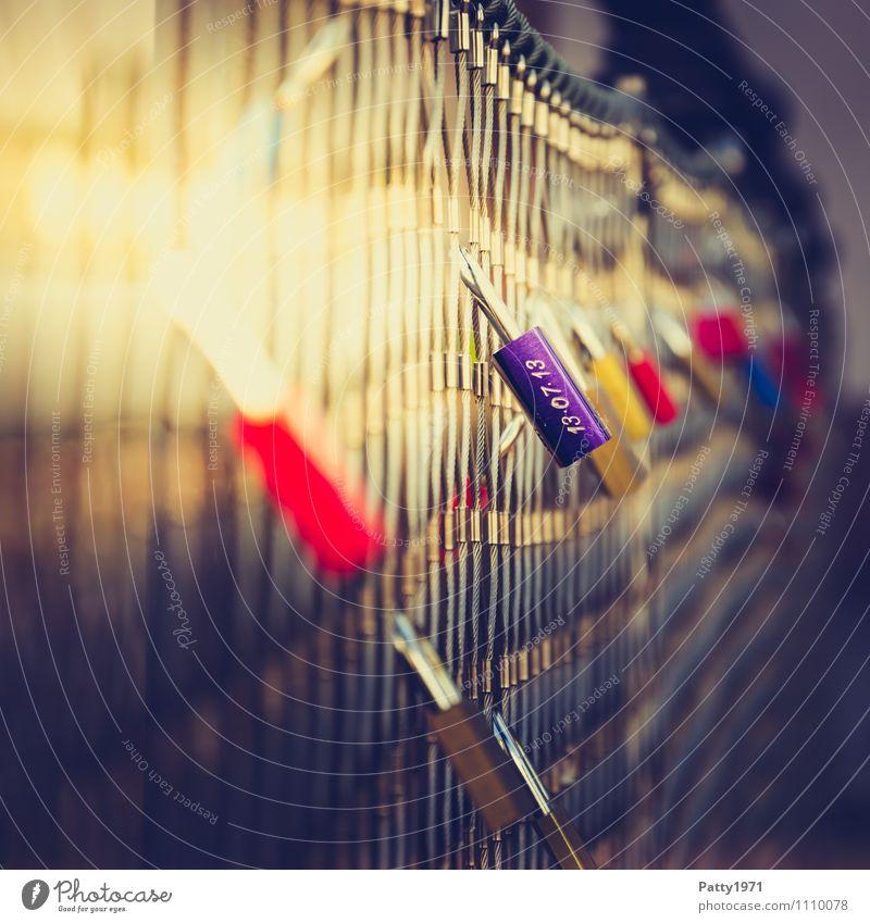 Liebesschlösser Stadt Gefühle Lifestyle Zusammensein Freundschaft Brücke Ziffern & Zahlen violett hängen Sympathie Liebesbekundung Vorhängeschloss Liebesschloss