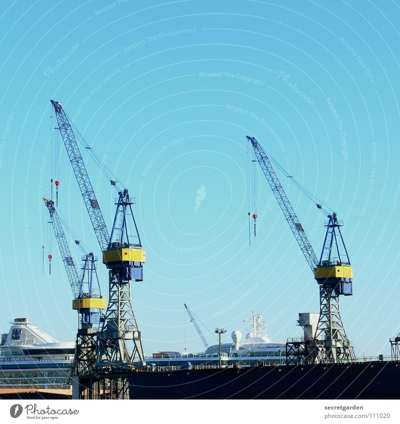 die drei vom dock II Himmel blau Stadt rot gelb Herbst Wärme Wasserfahrzeug Wellen Arbeit & Erwerbstätigkeit Hamburg Macht Technik & Technologie Fluss