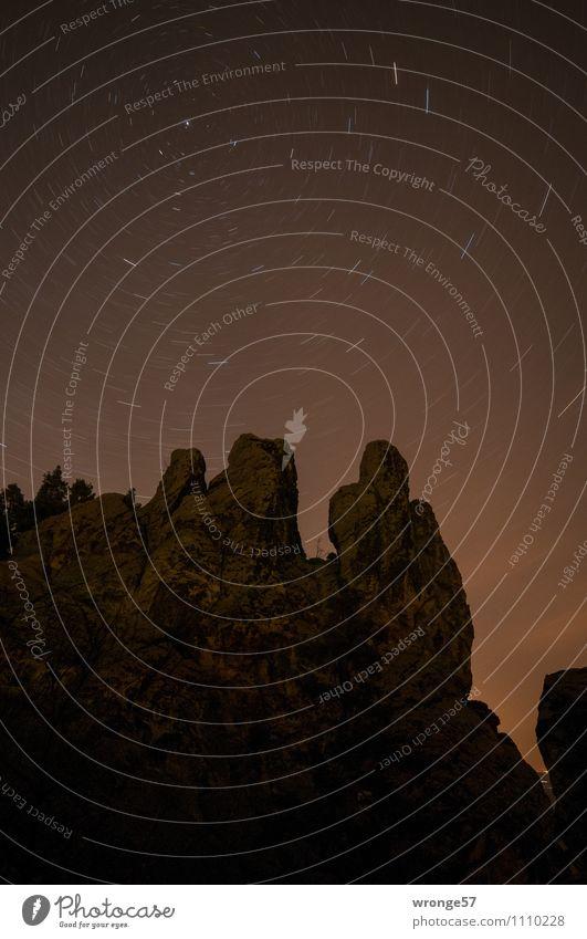 langlebig | das Universum Natur Landschaft Himmel Nachthimmel Stern Frühling Schönes Wetter Felsen Berge u. Gebirge Harz Ferne Unendlichkeit braun schwarz