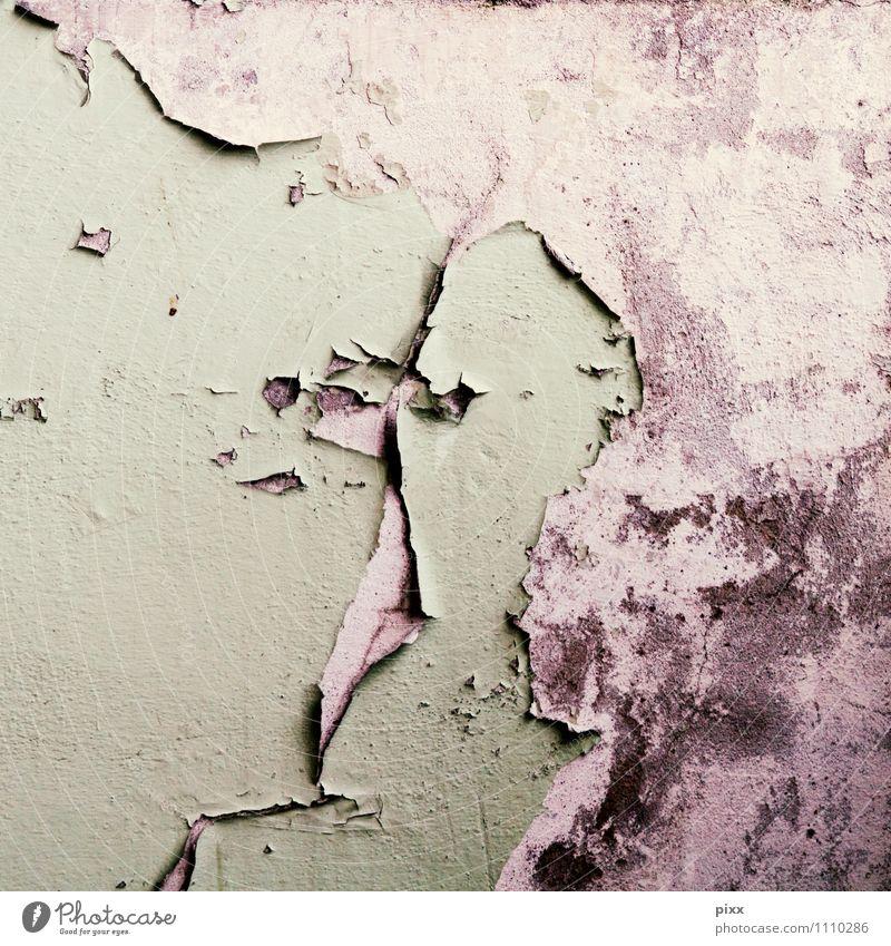 nichts hält ewig alt grün Wand Farbstoff Senior Mauer grau Stein Fassade dreckig warten Beton kaputt berühren Reinigen fallen
