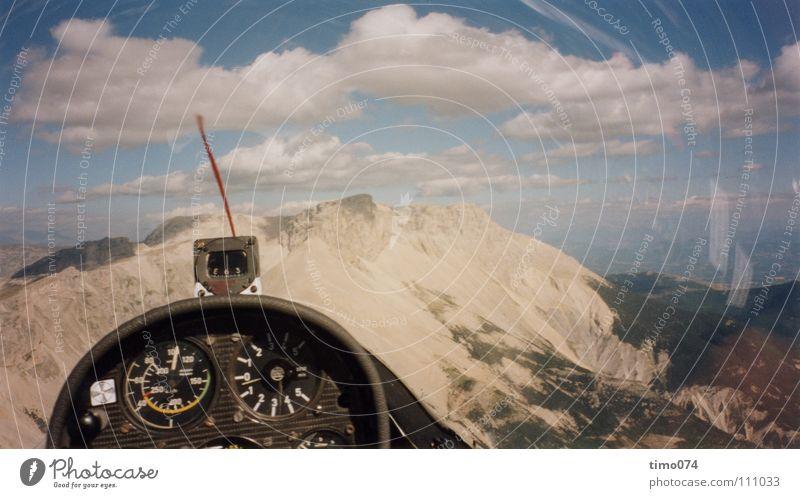 Segelflug am Hang Cockpit Segelfliegen Wolken Kompass Panorama (Aussicht) Segeln gleiten Wärme Altimeter Pilot Kopilot Luftaufnahme Luftverkehr Himmel Nähgarn
