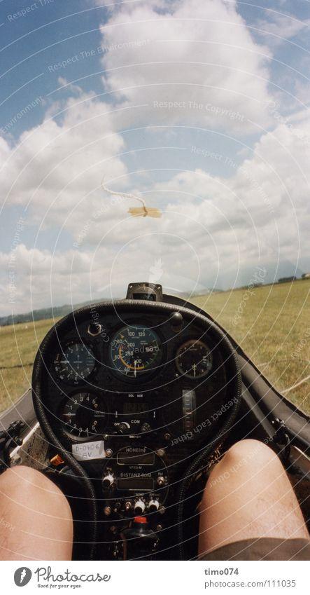 Kurz vor dem Start Himmel Wolken Sport Spielen Wärme Wind fliegen Seil Niveau fallen Konzentration Segeln untergehen Nähgarn Pilot Kompass